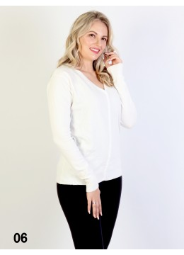 Basic Long Sleeve Button TOP V-Neck Knitted Sweater Cardigan