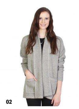 Dotted Trim Knit Jacket W/ Pockets