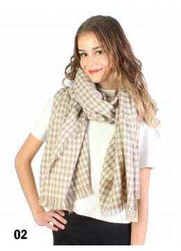 Houndstooth Blanket Scarf /Taupe