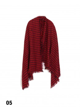 Houndstooth Blanket Scarf /Red