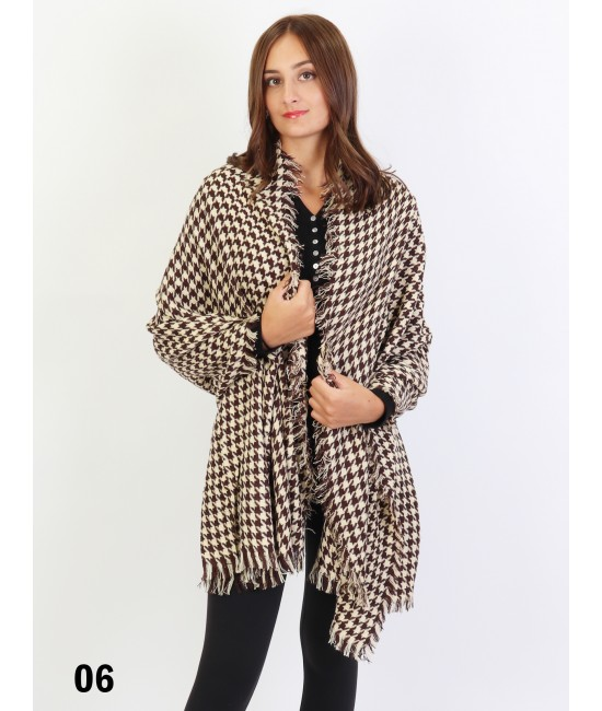 Houndstooth Blanket Scarf /Brown