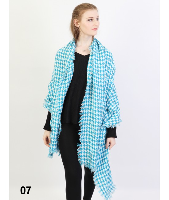 Houndstooth Blanket Scarf /Blue