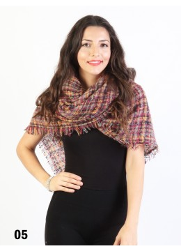 Square Tartan Ombre Blanket Scarf /Red