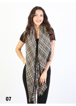 Square Tartan Ombre Blanket Scarf /Green