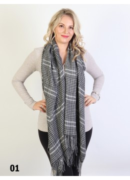 Hounds-tooth Print Blanket Scarf W/ Fringes