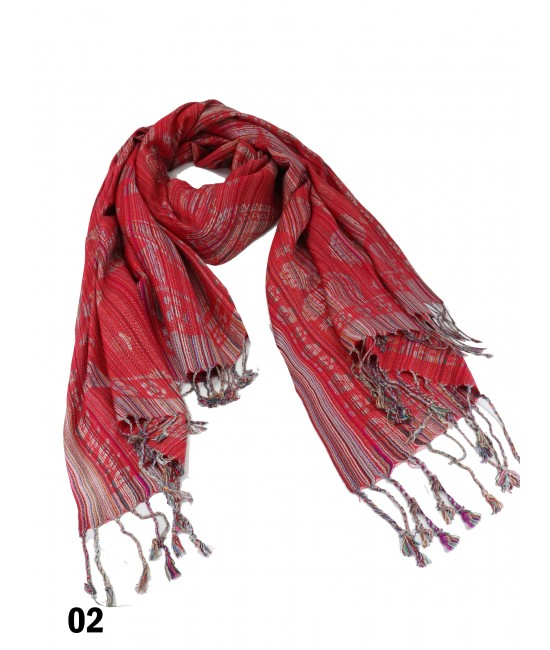 Paisley Print Rainbow-Colour Threads Scarf W/Tassels /Red