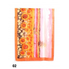 WOMEN 100% SILK LONG SCARF SHAWL OIL PAINTING PRINT