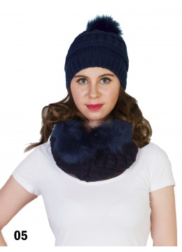 Fashion Knitted Furry Set W/ (Scarf, Hat)