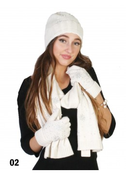 Fashion Knitted Set W/ Snowflake Detail (Scarf, Hat, Gloves)